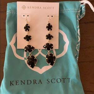 Kendra Scott long black gold earrings